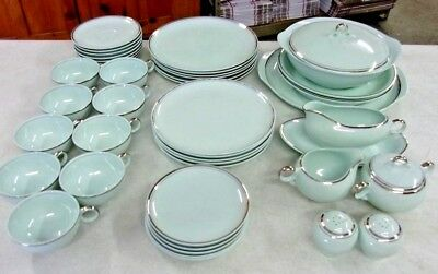 Vintage UNION MADE Universal Ballerina Mist Green Platinum Dinnerware 43 pieces