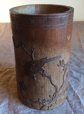 Antique Japanese carved and lacquer decorated bamboo brush pot, Meiji period.