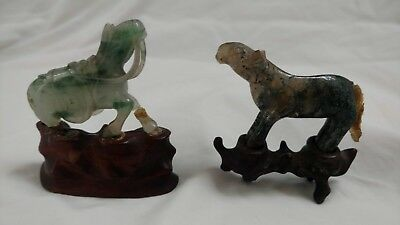 Figurines: Antique Jade Horses (2) on Teak stands