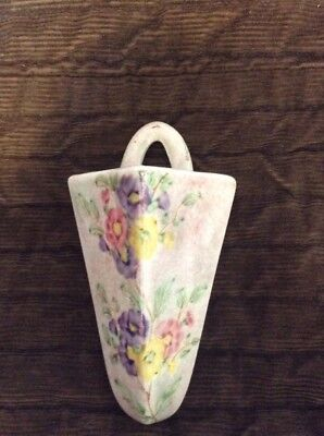Delightful E Radford Pottery Wall Pocket Pink With Floral Design
