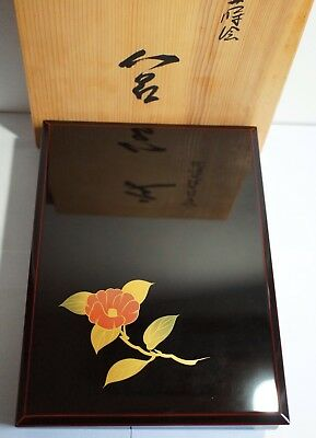 Authentic Japanese Wooden Wajima Lacquered Box - Camellia Motif