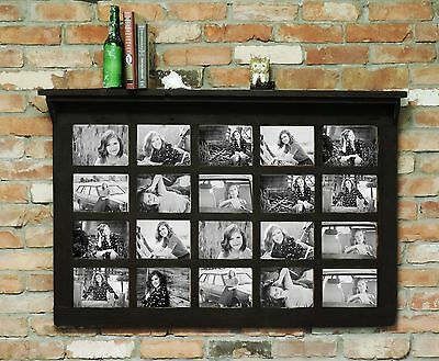 """Barn Wood 20 Pane Rustic Picture Frame With 4"""" Shelf Holds 20 5"""" x 7"""" Photos!"""