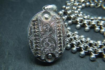 Superb Antique Victorian Solid Silver Ornate Locket & Book Chain Collar Necklace