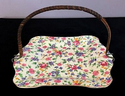 """Royal Winton Grimwades """"old Cottage Chintz"""" Serving Plate With Handle -England"""