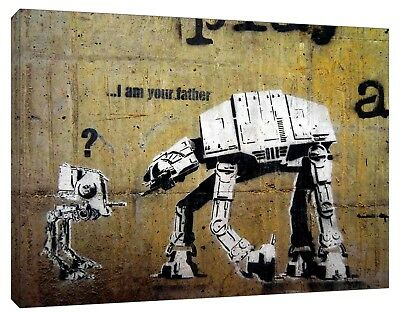Banksy Star wars I am FArther Reprint on Framed Canvas Wall Art Home Decoration