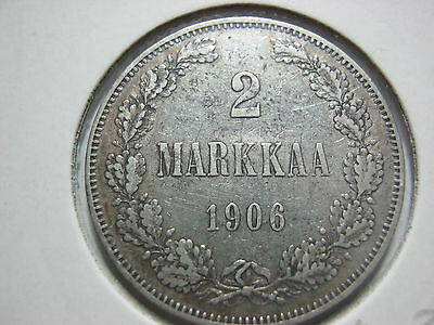 Finland 2 markkaa Nicholas II 1906 L in About XF condition.Very Rare.