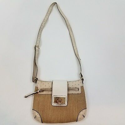 c2f31c9c02b Aldo crossbody purse straw cream beige white bag buckle weave small handbag