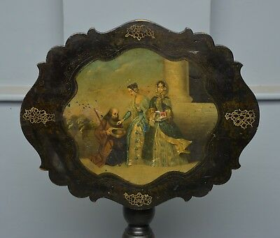 Delightful French Ebonised Tilt-Top Table Original Oil Painting