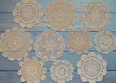 10 Crochet Doilies Lot Wedding Coasters Country Beige Table Runners