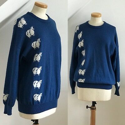 Vintage 1980s Sheep Jumper Hand Knitted Stunning 80s Soft Warm Winter Sweater A1