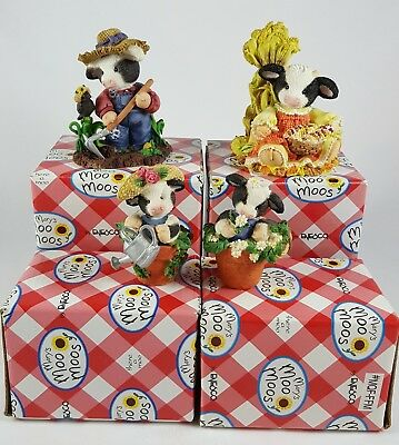 Mary's Moo Moos Set of 4 Garden-Themed Cow Figurines w/ Boxes