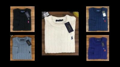 Polo Ralph Lauren Cable Knit Jumper for Men Crew Neck-Uk stock