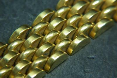 Superb Antique Art Deco French Machine Age Rolled Gold Chunky Bracelet -Signed-