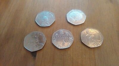 2016 Beatrix Potter 50p full set of 5 coins Inc Jemima Puddleduck All Circulated