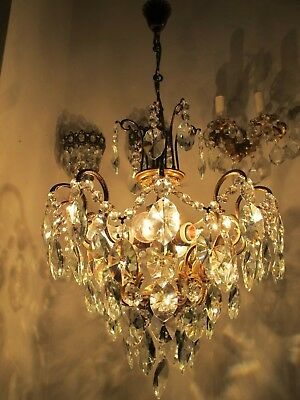 Antique Vnt French HUGE Spider Style Crystal Chandelier 1940s 18in dmtr Rare ***