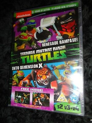 NEW SEALED Region 2 DVD TMNT 2 PACK TURTLES RENEGADE RAMPAGE & INTO DIMENSION X