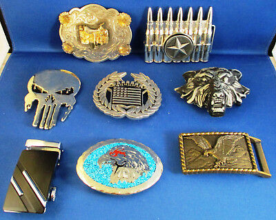 Lot of 8 Vintage Belt Buckles Wolf, Bullet, Cadillac, Eagle and more
