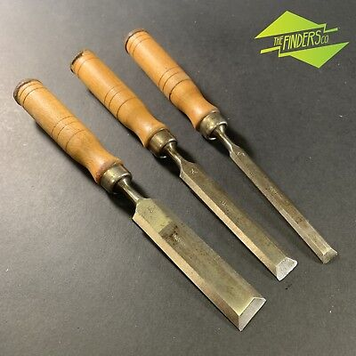 LOT x3 VINTAGE JAPANESE MADE BEVEL EDGE CHISELS JAPANESE MADE WOODWORKING