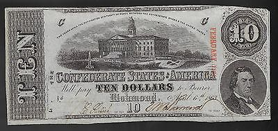 1863 $10 US Confederate States of America! UNC NO FOLDS (VERY NICE)