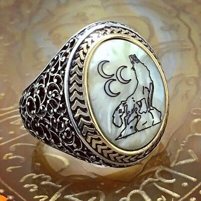 925 Sterling Silver Mens Ring Turkish Ottoman Wolf engraved Pearl free resizing