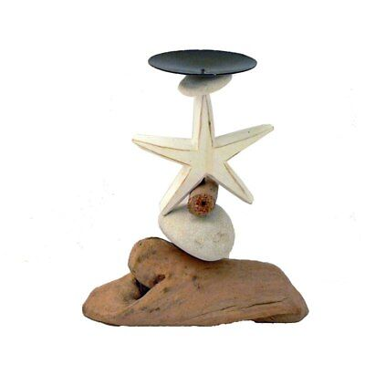 Beach house candle  holder, starfish pebble and driftwood