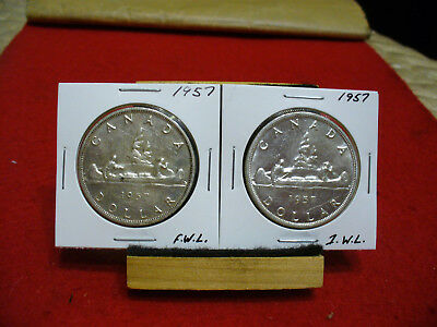 Lot Of 2   1957 Canada  Silver Dollar  Coins   Nice Grades   Fwl And 1 Wl  1$