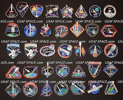 SPACEX ORIGINAL Complete 74 Mission PATCH SET FALCON-9 DRAGON NASA CRS SpX DM-1