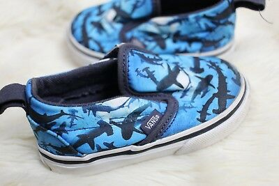 7e71f622aa28bd Vans Shoes Shark Blue Ocean Print Boys Size US Toddler 4 T Baby Slip Ons  Walking