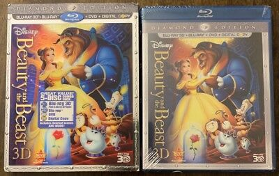 Disney Beauty And The Beast 3D Blu-ray DVD Digital Copy Lenticular Slipcover New