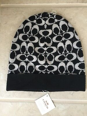 7ec1e8663a8 Women s COACH Knit HAT Signature Logo Black Beige F85207 Merino Acrylic NEW  NWT
