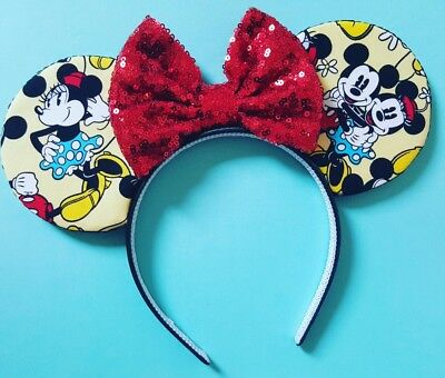 Disney Beauty & The Beast Belle Inspired Mickey Minnie Mouse Bow Ears!!