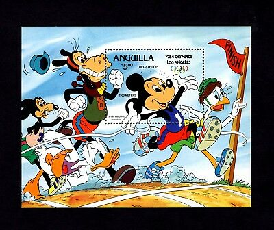 Anguilla - 1984 - Disney - Mickey - Olympics - Rings - Mint - Mnh S/Sheet!