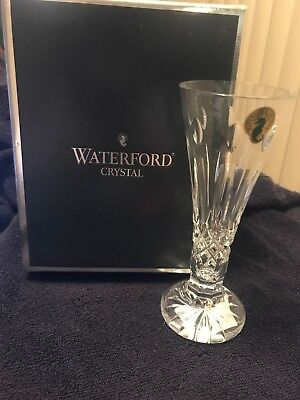"Waterford Crystal 6 1/2"" Tall Happy Birthday Stem Footed Bud Vase NIB"