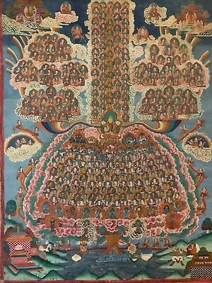 Refuge Field with Tsongkapa Antique Thangka 1799 -1899 Intricate Panting Tibet