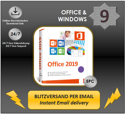 MS Office 2019 Professional Plus, 1/2/3/4/5 PC-32&64 Bits, Produktkey per E-Mail