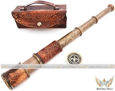 Nautical Leather Telescope Antique Pirate Spyglass Cover Boat Marine Scope Gift