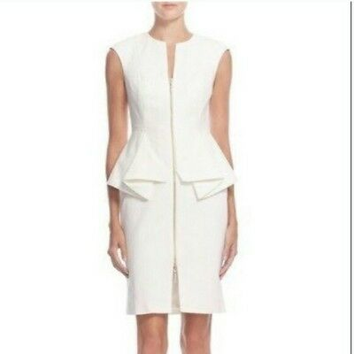 b315ca20cdb2 Beautiful Cream Ivory Famous Zipup Ted Baker Peplum Dress Fitted Size 0 Uk 4  New