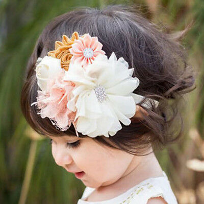 Flower Lace Rhinestone Headband ElasticHair BandBaby Girl Kid Hair^AccessoriesEP