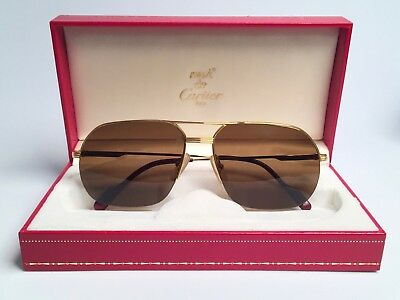 c2a909a58a New Vintage Cartier Tank Orsay Gold Sunglasses 18K Heavy Gold Plated France