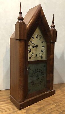 New Haven 8 Day Gothic Steeple Mantle Table Clock Jerome