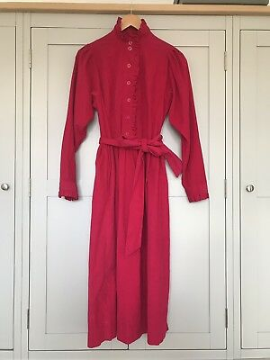 Immaculate Vintage Laura Ashley Cerise Pink Victorian Long Dress Corduroy Size16