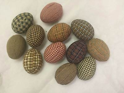 Easter/Primitive/Farmhouse/Eggs/Fabric Wrapped/Bowl Fillers/Set of 12