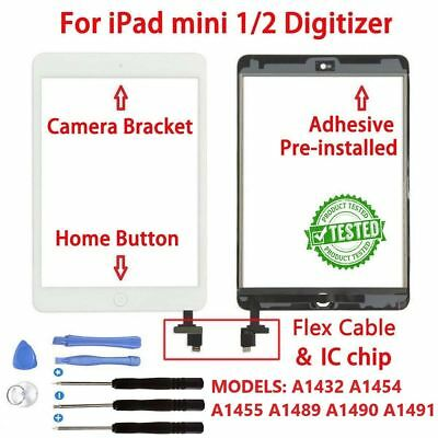 Replacement Touch Screen Glass Digitizer IC Home Button iPad Mini 1 / 2 White