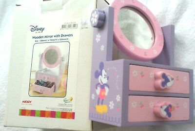 NEW Children's Disney Collection Mickey & Minnie Wooden Mirror with Drawers