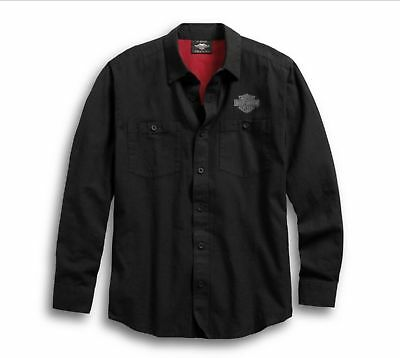 96590-19Vm Harley-Davidson Men's Cotton Linen Long Sleeve Black Shirt   ** New**