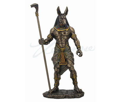 Anubis Holding Cobra Head Scepter Egyptian God Statue Sculpture Figurine
