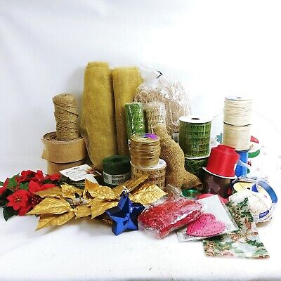 Arts Crafts Floral Florist Mixed Lot Supplies Holiday Christmas Raffia Ribbon