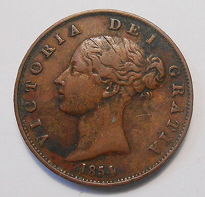 Great Britain 1854 1/2 Penny VF+ HIGH Grade Early Queen Victoria UK Copper Coin
