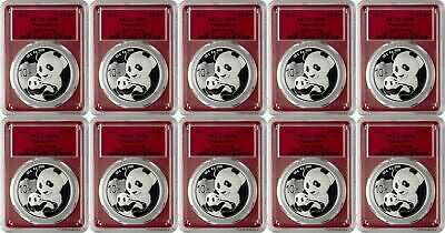 2019 10 Yuan China Silver Panda Coin 30 Gram .999 PCGS MS70 FS - Red - Lot of 10