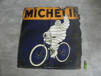 Ancienne Plaque MICHELIN Tole Garage Bibendum Pneus Velo cycle Bike antique old